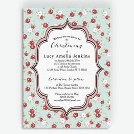 Vintage Rose Christening / Baptism Invitation
