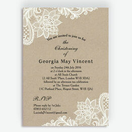 Rustic Kraft & Vintage Lace Christening / Baptism Invitation