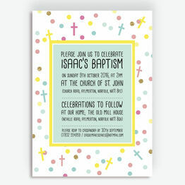 Pastel Confetti Personalised Christening / Baptism Invitation