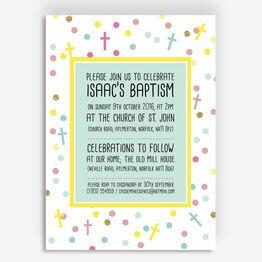 Pastel Confetti Personalised Christening / Baptism Invitation
