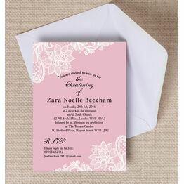 Pink & White Vintage Lace Christening / Baptism Invitation