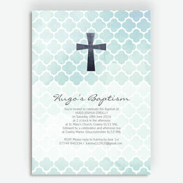 Watercolour Geometric Personalised Christening / Baptism Invitation