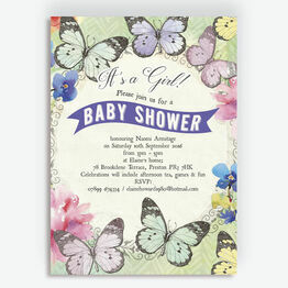 Butterfly Garden Baby Shower Invitation