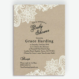 Rustic Kraft & Vintage Lace Baby Shower Invitation