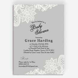 Grey & White Vintage Lace Baby Shower Invitation
