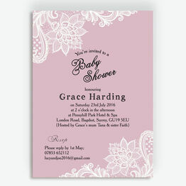 Pink & White Vintage Lace Baby Shower Invitation
