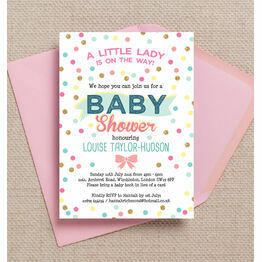 Pastel Confetti Baby Shower Invitation