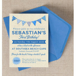 Vintage Blue Bunting Party Invitation