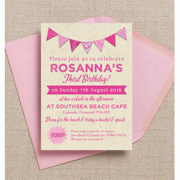 Vintage Pink Bunting Party Invitation