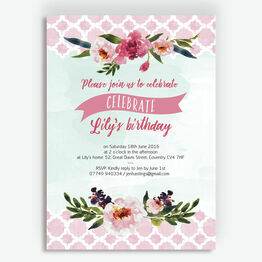Watercolour Floral Party Invitation