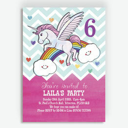 Rainbow Unicorn Party Invitation
