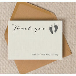 Rustic Calligraphy Personalised Baby Thank You Cards