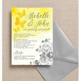 Yellow & Grey Watercolour Floral Wedding Invitation