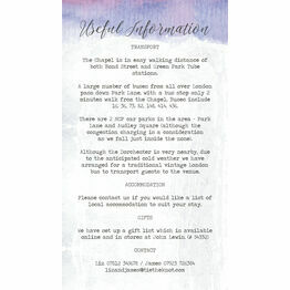 Lilac & Lavender Guest Information Card