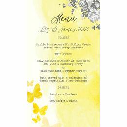 Yellow & Grey Watercolour Floral Menu