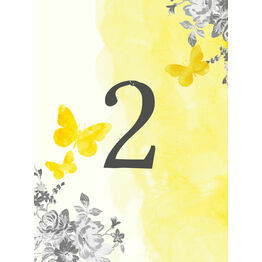Yellow & Grey Watercolour Floral Table Number