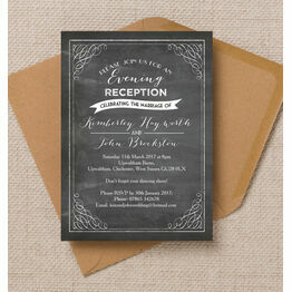 Vintage Chalkboard Evening Reception Invitation