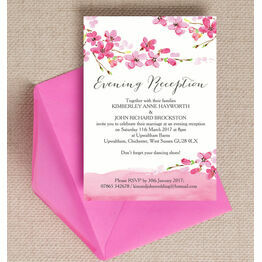 Cherry Blossom Evening Reception Invitation