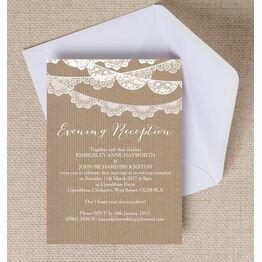Rustic Lace Bunting Evening Reception Invitation