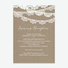 Rustic Lace Bunting Evening Reception Invitation