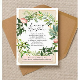 Flora Wreath Evening Reception Invitation