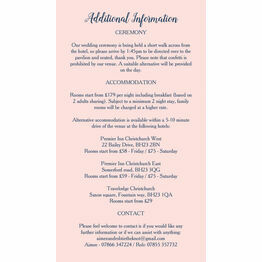 Navy & Pink Guest Information Card