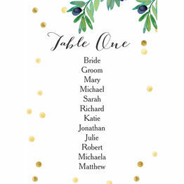 Olive Wreath Table Plan Card