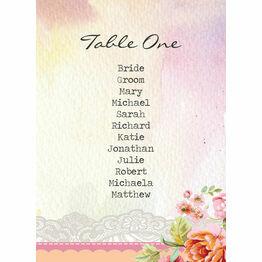 Pastel Watercolour Table Plan Card