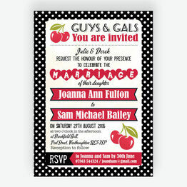 Retro Cherry Rockabilly Invitation