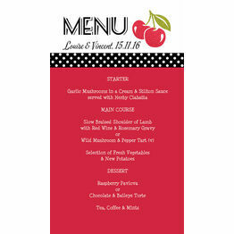 Retro Cherry Rockabilly Menu