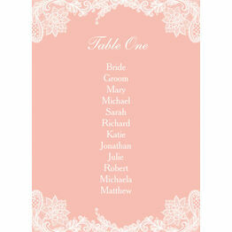 Romantic Lace Table Plan Card