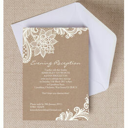 Rustic Lace Evening Reception Invitation