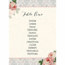 Sweet Vintage Table Plan Card