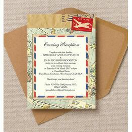 Vintage Airmail Evening Reception Invitation