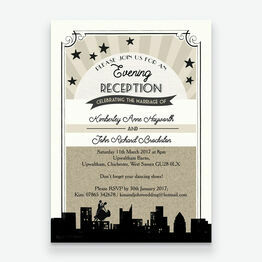 Vintage Hollywood Evening Reception Invitation