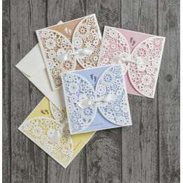 Vintage Lace Laser Cut Baby Shower Invitations
