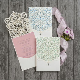 Diamante Laser Cut Pocketfold Personalised Wedding Invitation