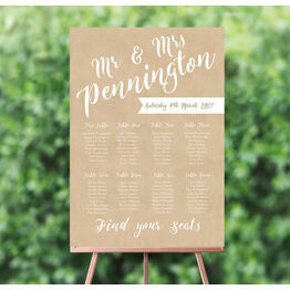 Colour & Calligraphy Wedding Seating Plan