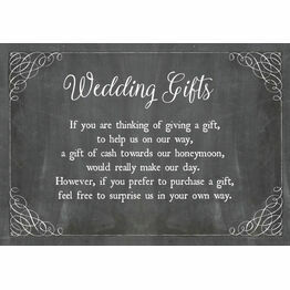 Chalkboard Wedding Gift Wish Card