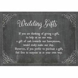 Chalkboard Wedding Gift Wish Card