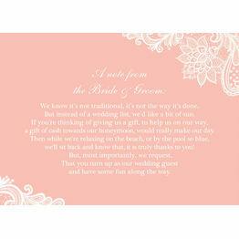 Lace Wedding Gift Wish Card
