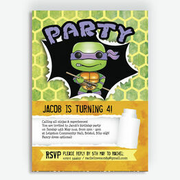 Turtle Superhero Birthday Party Invitation