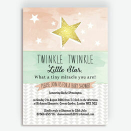 Twinkle Star Baby Shower Invitation