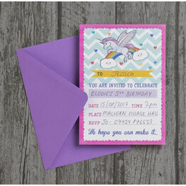 Pack of 10 Rainbow Unicorn Party Invitations