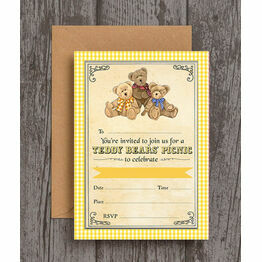 Pack of 10 Teddy Bears Picnic Party Invitations