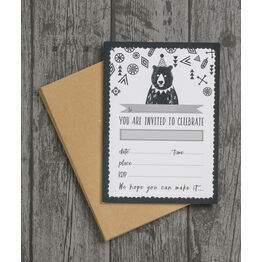 Pack of 10 Grizzly Bear Party Invitations