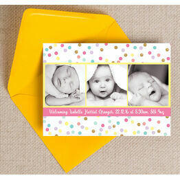 Pastel Confetti Photo Birth Announcement Card