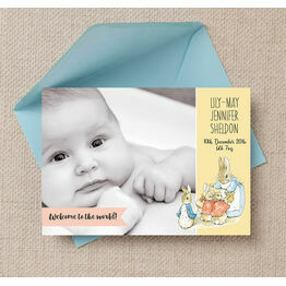 Flopsy Bunny Photo Birth Announcement Card