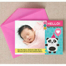 Panda Bear Photo Birth Announcement Card