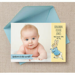 Beatrix Potter's Peter Rabbit Photo Birth Announcement Card